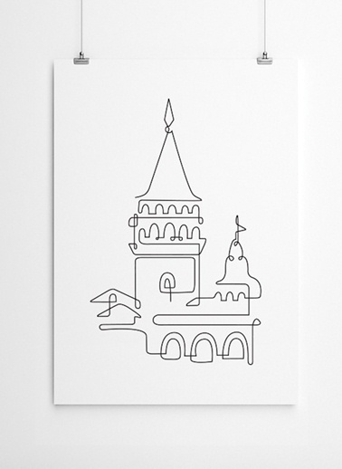 Tek Çizgide Galata Kulesi Poster-Fabl